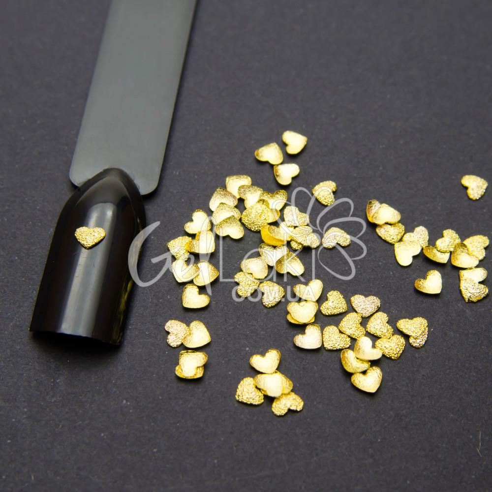 """Объемный декор для дизайна ногтей """"Сердце"""" (золото) 65 шт, D005"""