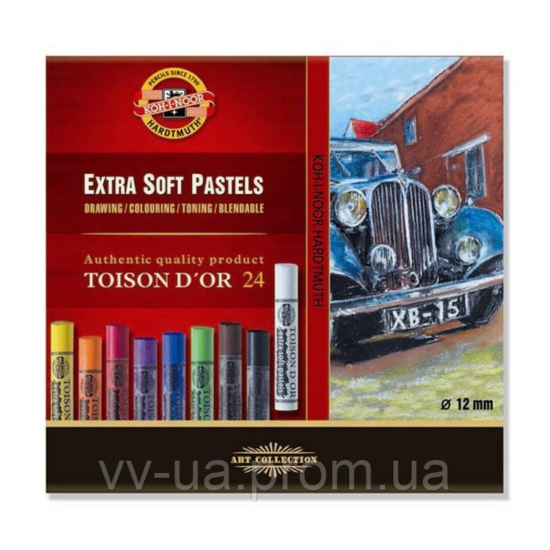 Сухие экстра-мягкие пастельные мелки Koh-i-Noor Toison d'Or, 24 цвета (8554024001KZ)