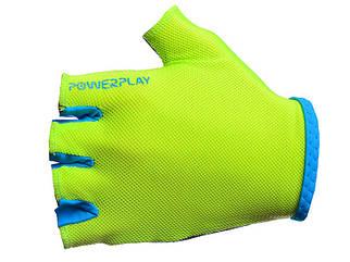 Велоперчатки PowerPlay  женские салатовые.
