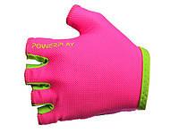Велоперчатки PowerPlay женские розовые.