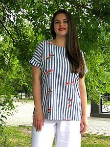 """Льняная женская блузка большого размера """"Тренни"""""""