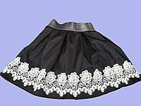 Юбка на резинке с белым цветочным кружевом оптом