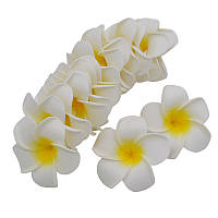Цветок Плюмерия Бело-желтый тропический из фоамирана (латекса) 4 см 5 шт/уп