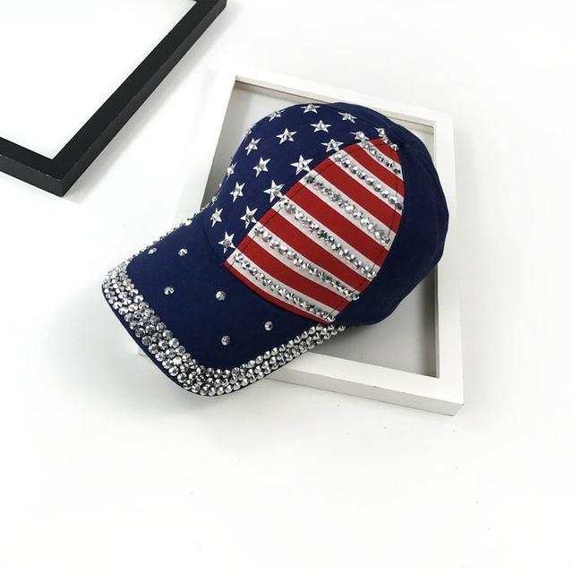 Кепка со стразами флаг США