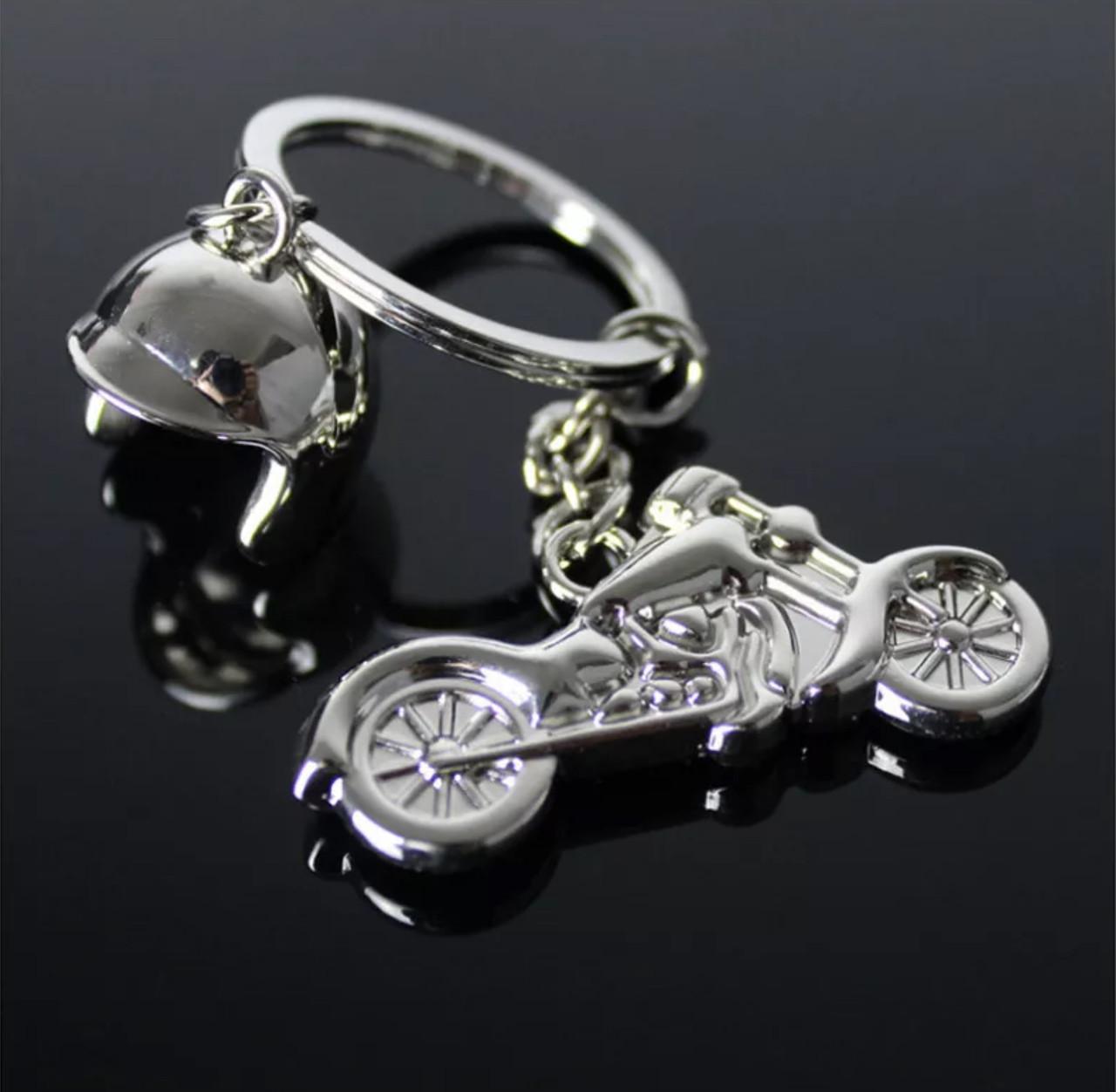 Брелок для ключей из нержавеющей стали «Мото-шлем» с двумя элементами