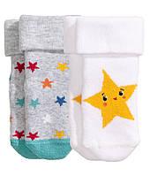 Махровые носочки для новорожденного (2 пары)  0-3 месяца