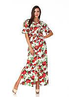 Длинное платье рубашка цветочный принт. П122, фото 1