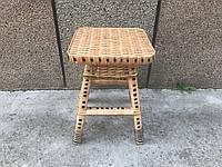 Плетеный табурет с лозы, плетеный стул (с темными вставками)