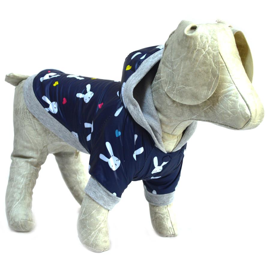 Курточка для собак Весна синяя с зайчиками