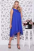 Женское платье свободного силуэта Солнышко-кружево / цвет электрик / размер 48-58