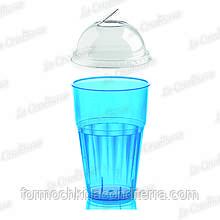 """Пластиковий стакан блакитний для напоїв """"Frappe"""" з кришкою Polo Plast 225+225-BB (400 мл)"""