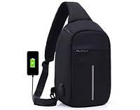 Рюкзак антивор однолямочный bobby mini сумка через плечо бабанка с USB BLACK