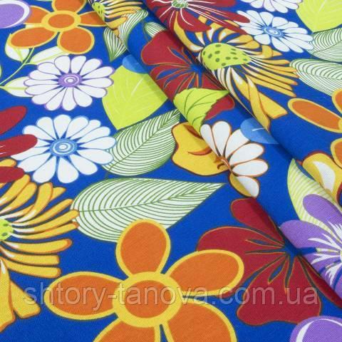 Декоративная ткань для штор, тропические цветы синий