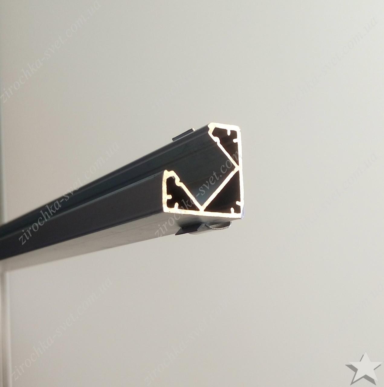 Профиль угловой алюминиевый для светодиодной ленты 1м встраиваемый с рассеивателем LEDLIGHT №17