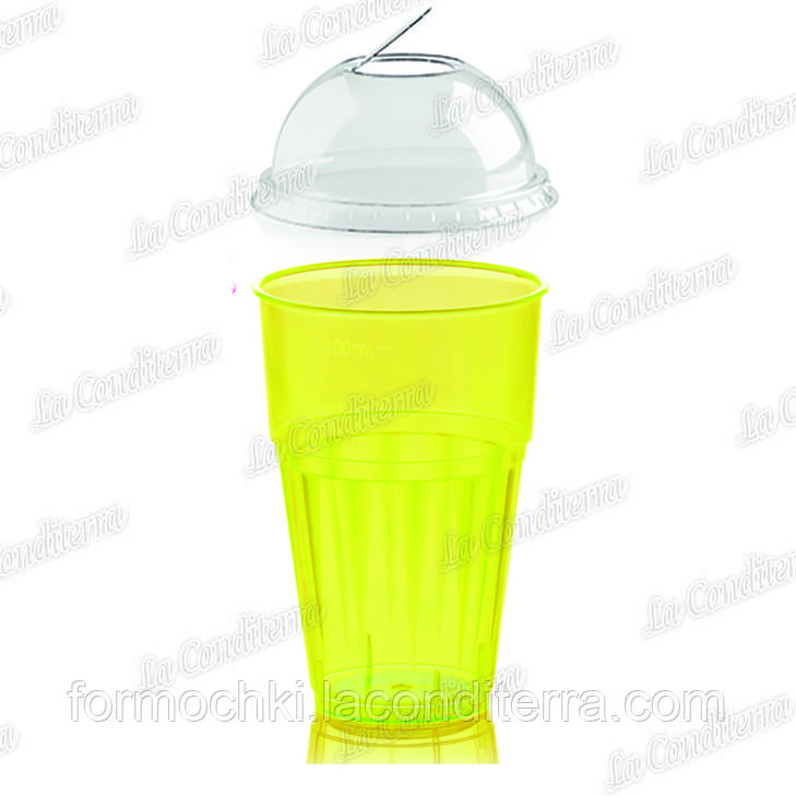 "Пластиковый стакан желтый для напитков ""Frappe"" с крышкой Polo Plast 225+225-BB (400 мл)"