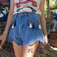 Джинсовые шорты женские с кисточками