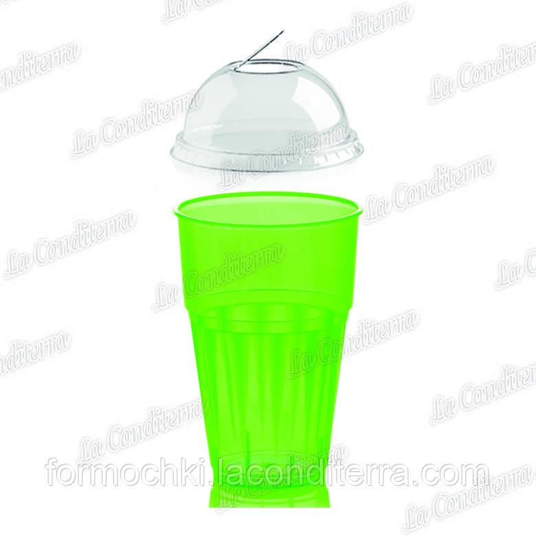 """Пластиковий стакан зелений для напоїв """"Frappe"""" з кришкою Polo Plast 225+225-BB (400 мл)"""