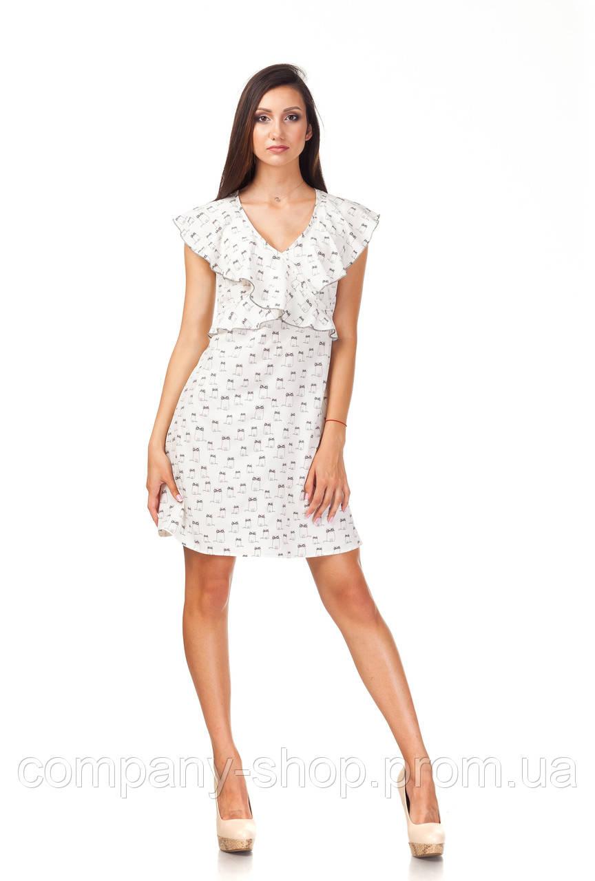 Платье с рюшами по груди оптом. Модель П113_котики