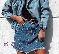 Джинсовая юбка женская с жемчугом