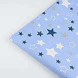 """Ткань """"Звёздный карнавал"""" с синими, белыми и серыми звёздами на голубом фоне, № 1030а, фото 8"""