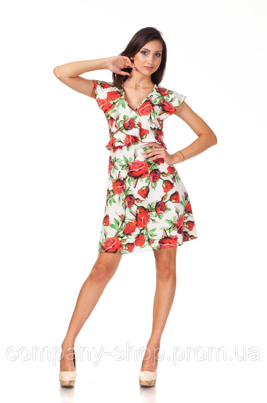 Платье с рюшами по груди оптом. Модель П113_розы