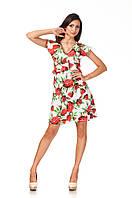 Платье с рюшами по груди оптом. Модель П113_розы, фото 1