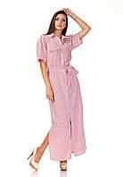 Женское платье-халат оптом. Модель П122_хлопок полоска красная, фото 1