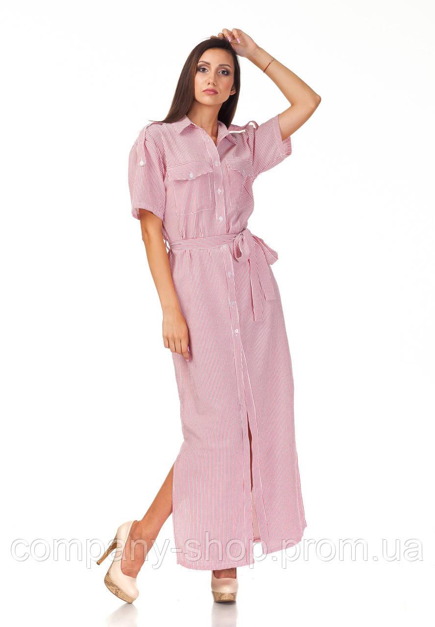 Женское платье-халат оптом. Модель П122_хлопок полоска красная