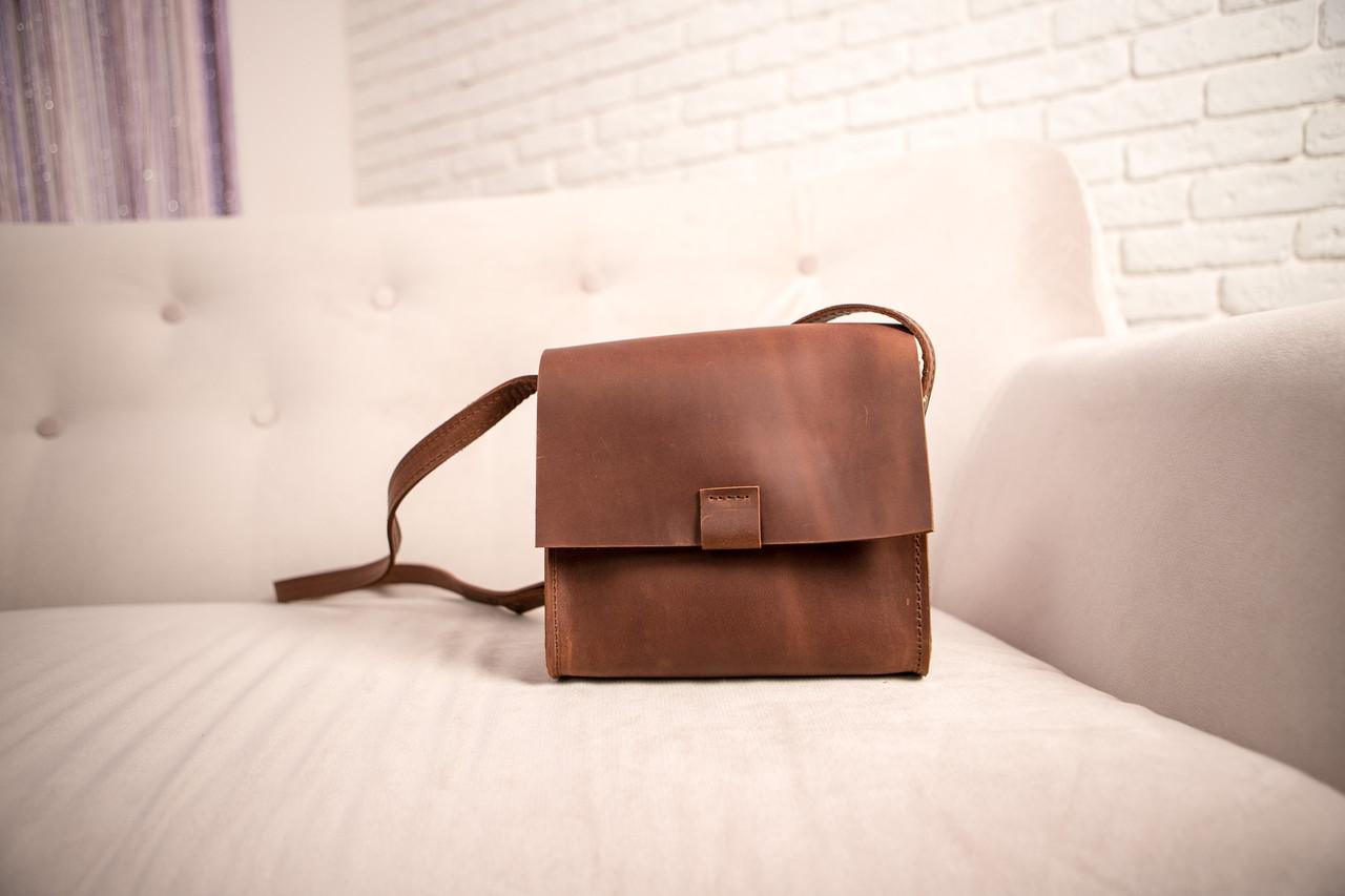 9d35e5dc1e30 Кожаная сумка CityBox цвет светло-коричневый кожа Крейзи Хорс ручная работа