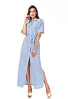 Женское платье-халат оптом. Модель П122_хлопок полоска синяя, фото 1