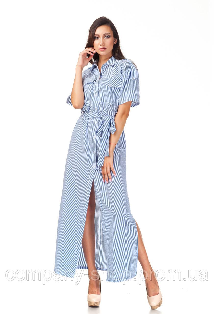 Женское платье-халат оптом. Модель П122_хлопок полоска синяя