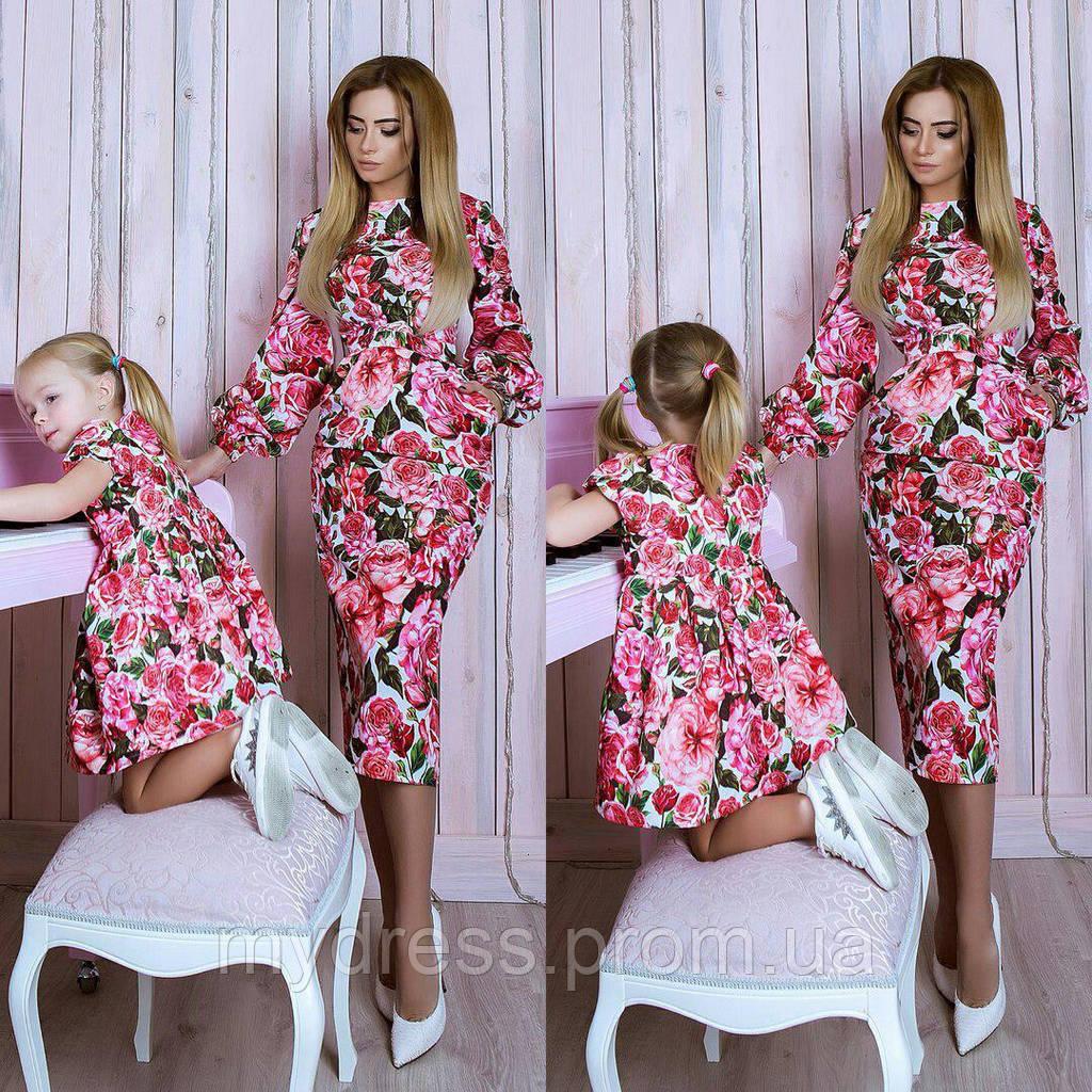 Family look парные платья ТРОЯНДА 10762