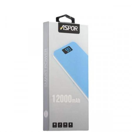 Power Bank Aspor A386 12000 mAh blue-white