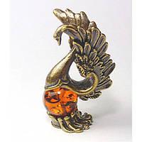 Фигурка сувенир из бронзы и янтаря Лебедь