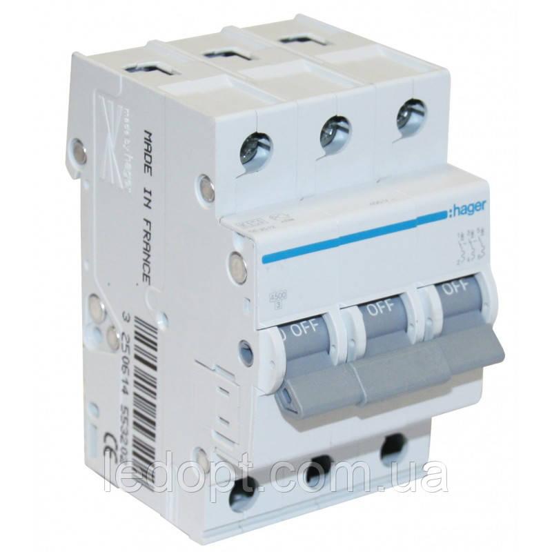 Автоматический выключатель, 3п, 10А, 6кА Hager