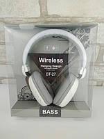 Наушники Bluetooth гарнитура BT-27 white-gray