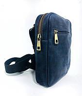 Мужская стильная сумка VS003  Crazy horse blue 10х15х5 см