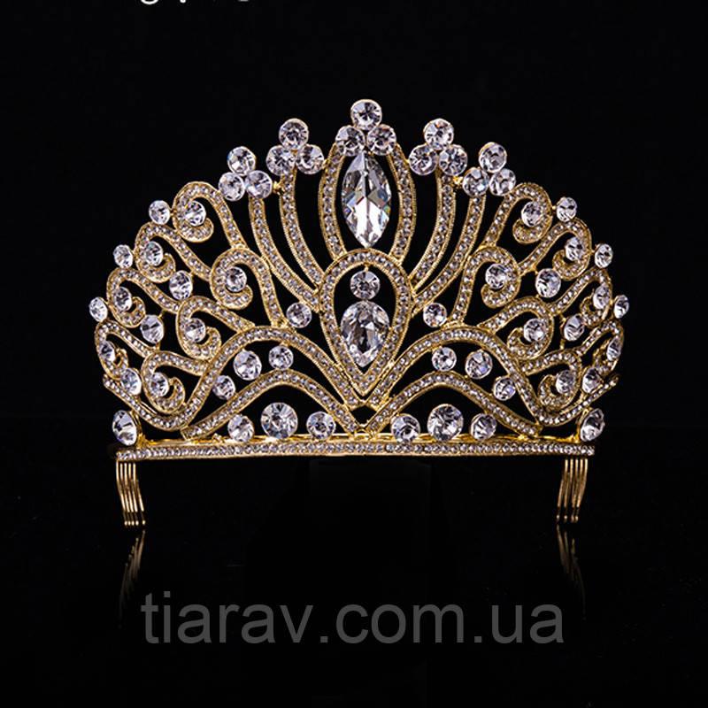 Диадема высокая корона, золотая БАДЕН, украшения для волос