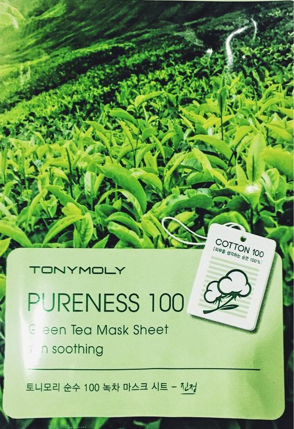 Успокаивающая тканевая маска с экстрактом зеленого чая Tony Moly