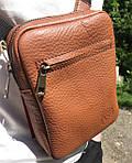 Мужская стильная сумка VS003 leather fleet ginger 10х15х5 см, фото 2