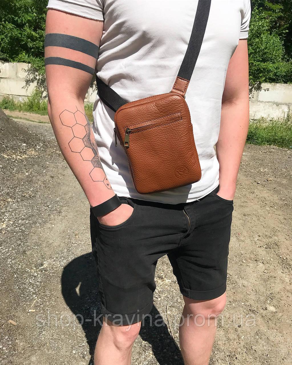 Мужская стильная сумка VS003 leather fleet ginger 10х15х5 см