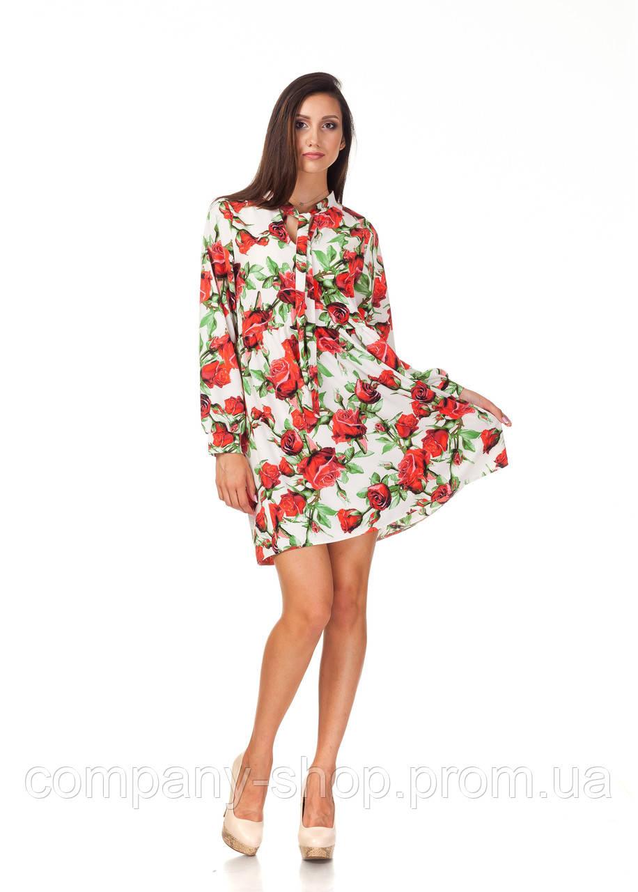Платье летнее с длинным рукавом. Модель П121_розы