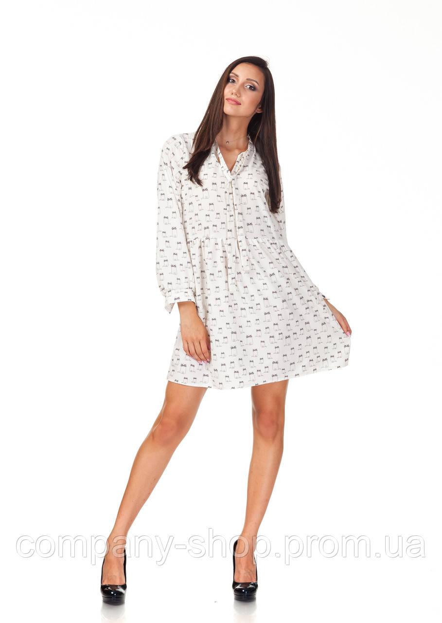 Платье летнее с длинным рукавом. Модель П121_котики