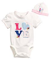 Детский бодик и шапочка для девочки  6-9 месяцев