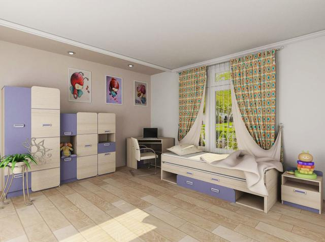 Детская комната Jasmine цвет Коимбра / фиолетово-синий (комплект 2)