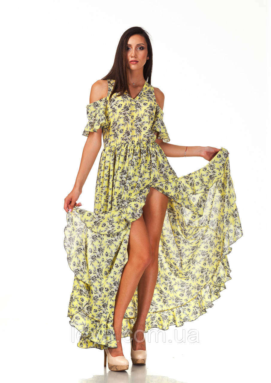 Длинное богемное платье опт. Модель П123_желтые цветочки