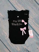 Стильный черный боди + повязка для девочки, Турция