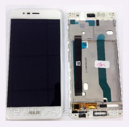 Оригинальный дисплей (модуль) + тачскрин (сенсор) с рамкой для Asus Zenfone 3 Max ZC520TL (белый цвет)