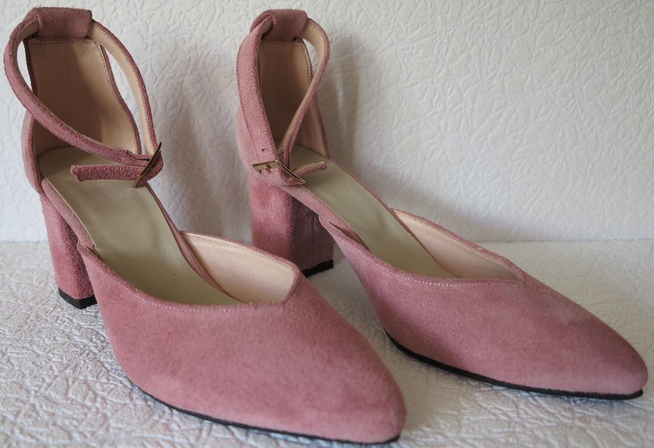 Комфортные туфли Limoda из натуральной замши босоножки на каблуке 6 см пудра
