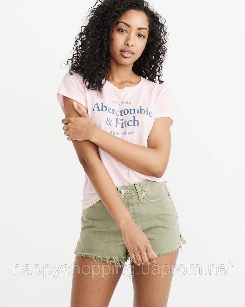 Женская пудровая футболка с принтом Abercrombie & Fitch